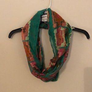 Green Aztec print infinity scarf